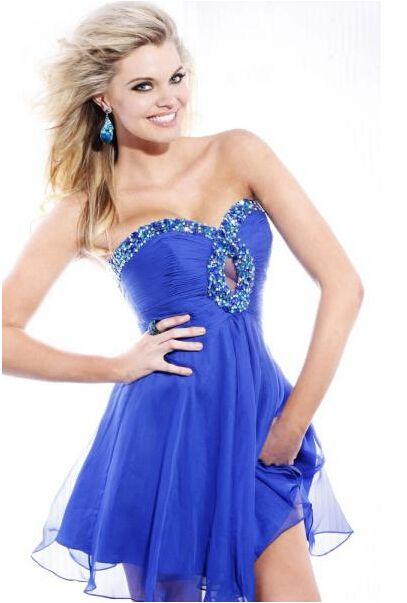 Nice Short Blue Sexy Chiffon Cocktail Dresses