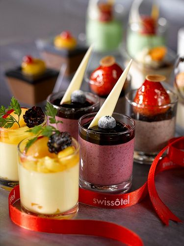 Colorful Desserts In Shot Glass.
