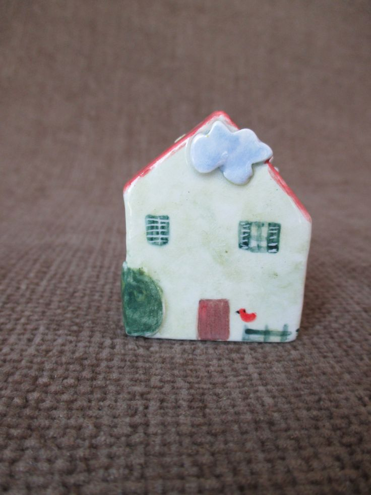 Little Ceramic House,Little Clay House,Cute Small House,Green House,Tiny House,Miniature House,Pottery House,Small details,Small village by TatjanaCeramics on Etsy