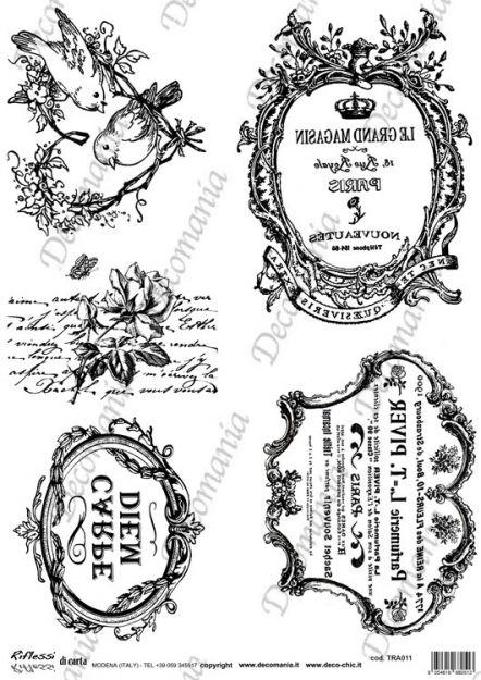 Codice: TRA011 Carta con disegni in bianco e nero ideale per il trasferimento d'immagine con l'utilizzo della soluzione DecoTRANSFERmania. DEC: LIQ125   Formato A3 ( 295x420 mm)  www.deco-chic.it