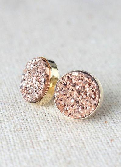 Rose Gold Earrings   Druzy Stud