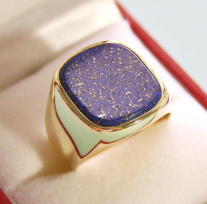 Catawiki Online-Auktionshaus: Herrenring 585 Gelb Gold mit Lapislazuli