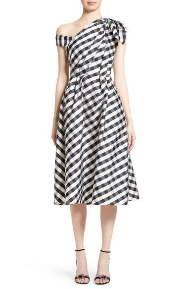 Carolina Herrera Bow Detail One-Shoulder Gingham Dress available at #Nordstrom