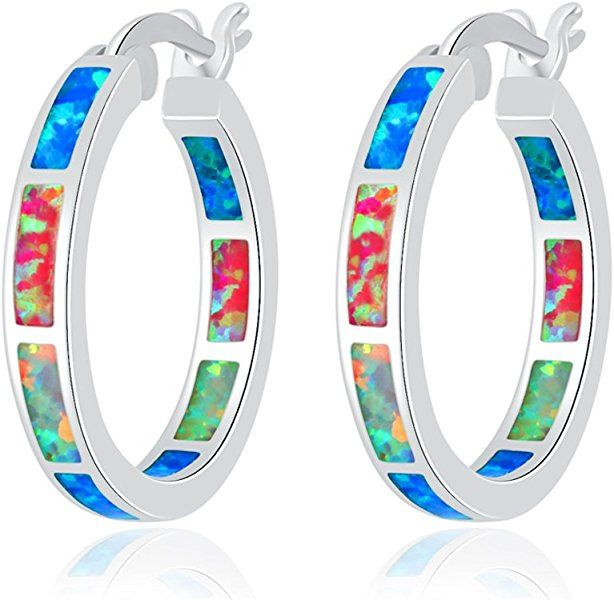 CiNily Sterling Silver Plated//Rose Gold Plated//Yellow Gold Plated Hoop Earrings,Multicolor Opal Small Hoop Earrings for Women Girls Hypoallergenic Jewelry for Sensitive Ears Gemstone Round Hoops 19mm
