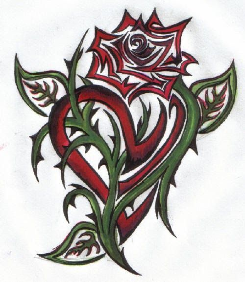 tribal rose tattoo 2