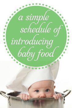 Introducing Baby Food1 A Simple Schedule of Introducing Baby Food --- Very simple breakdown of foods (no recipe, just foods), and then a really simple concept on making your own cereals