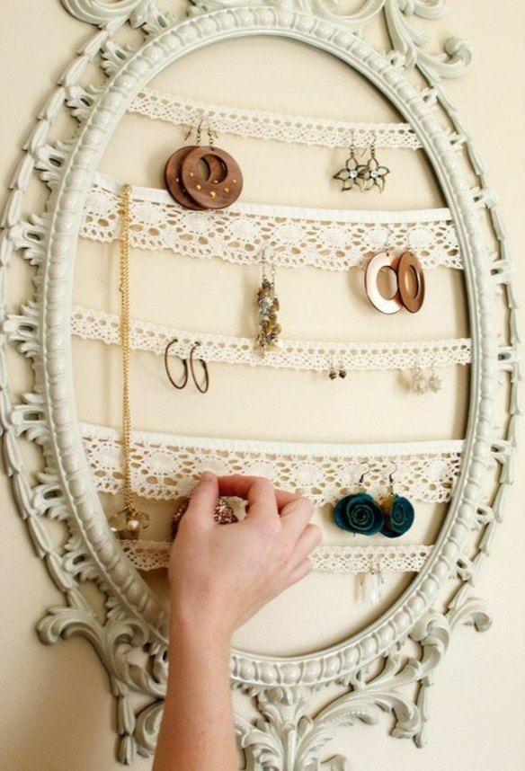 Spiegel Rahmen Schmuck Aufbewahrung Upcycling Ideen