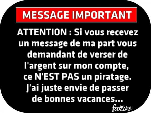 MESSAGE IMPORTANT