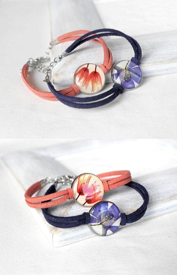 Vriendschap gift set voor vriend geperst bloemgift sieraden