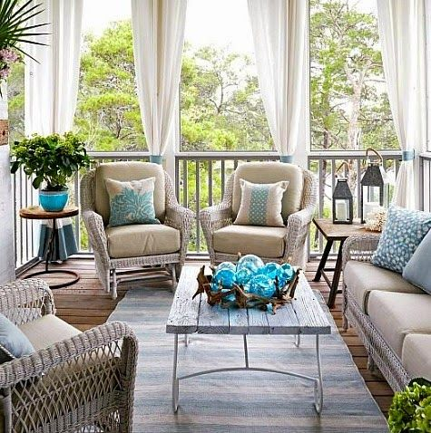 Top Coastal Summer Porches: http://www.completely-coastal.com/2015/06/coastal-summer-porch-decor-ideas.html .... Outdoor Living Rooms!
