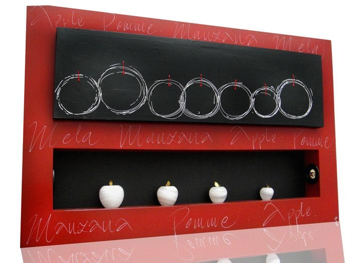 Cuadro con manzanas de ónix blancas (incluye iluminación)