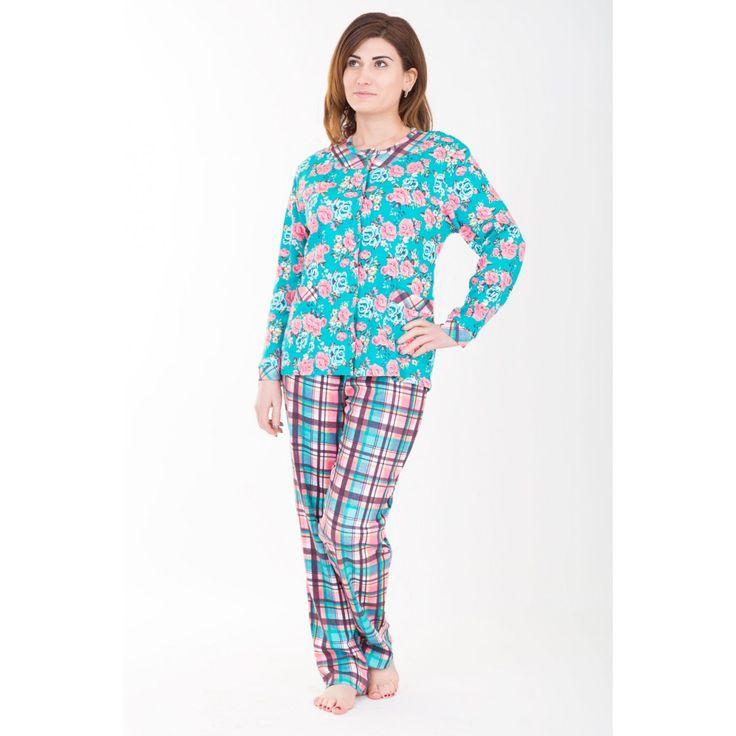 Бирюзовая пижама с цветным рисунком