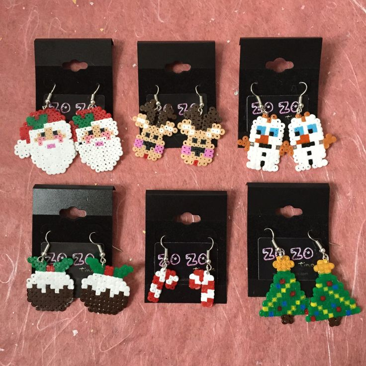 Christmas hama perler bead earrings by ZoZoTings