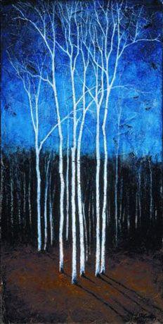 White Trees on Blue