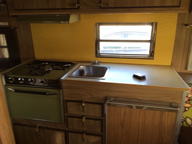17 best images about jojo 39 s vintage camper ideas on for Avocado kitchen cabinets