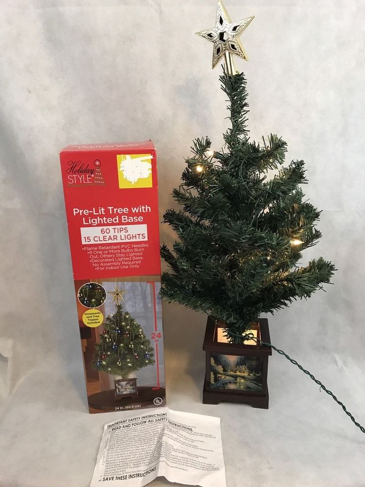 """Holiday Style Pre Lit Christmas Tree With Lighted Base 24"""" Collectible 