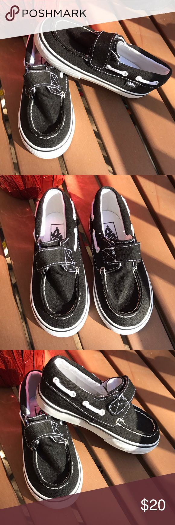 Boys Vans boat shoe sneakers Vans new boat shoe sneakers. Never worn black and white shoes. Velcro opening. Vans Shoes Sneakers