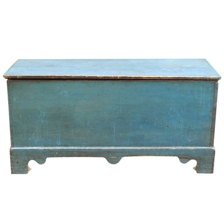 Vintage blue painted trunk by EcoFirstArt