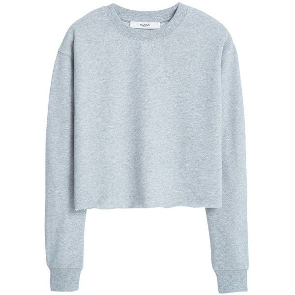 Mango Cotton Sweatshirt , Medium Grey (£20) ❤ liked on Polyvore featuring tops, hoodies, sweatshirts, sweaters, shirts, medium grey, gray shirt, sweatshirts hoodies, grey crop top and grey sweatshirt