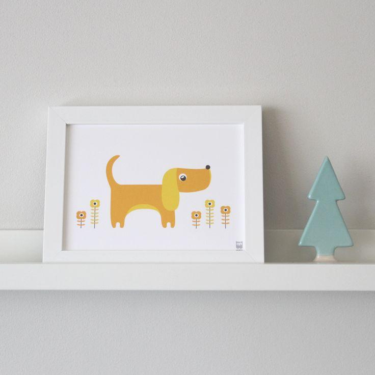 Innrammet plakat med hund 15 x 20 cm