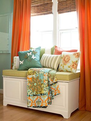 cute: Orange Curtains, Window Benches, Colors Combos, Decor Ideas, Living Rooms, Colors Palettes, Colors Combinations, Colors Schemes, Window Seats