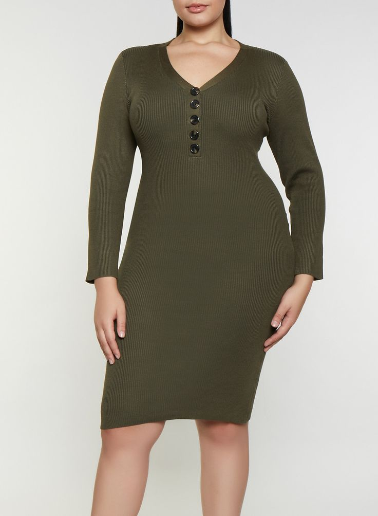 Plus Size Half Button Sweater Dress - Green - Size 2X 13