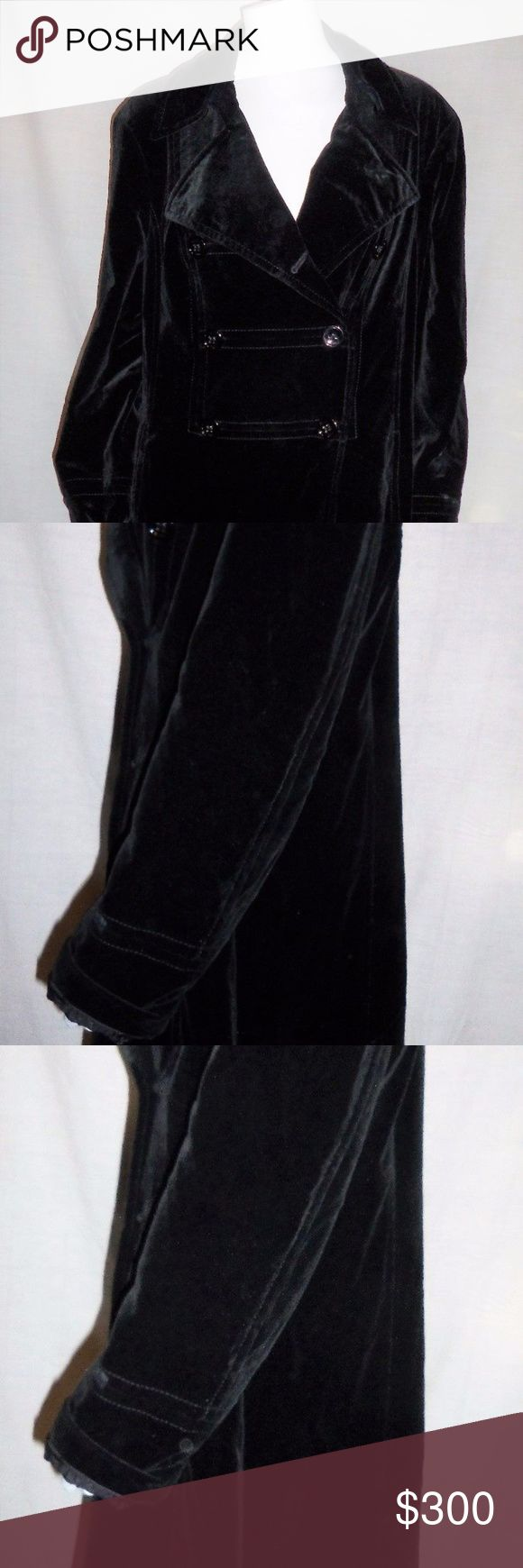 """Escada Sport Full Length lined Black Velvet Coat ESCADA SPORT BEAUTIFUL FULL LENGTH BLACK VELVET COAT Size 44 Large US 14 It is full lined I do not see any pulls or stains on it. It is a size 44 Large 14 in US. It is in great Preowned condition.  Has been in storage.   Measurements are Approx:  Size: 44 (Large) Double Breasted Bust: 22"""" across or 44""""around Length:43"""" from top shoulder to bottom Escada Jackets & Coats"""