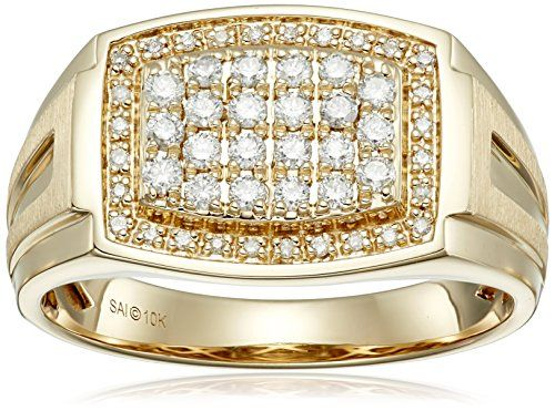 Men's 10k Yellow Gold Diamond Gents Ring (1/2cttw, I-J Color, I2-I3 Clarity), Size 10.5