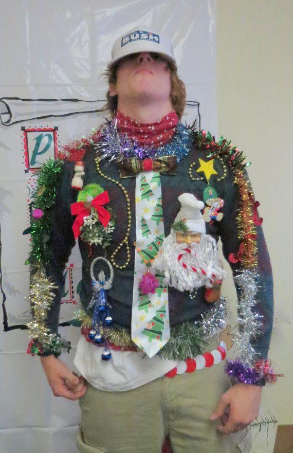 3-D Tacky Ugly Christmas Sweater Frankenstein Singing Tie Tacky Garland Light Up Mistletoe Bells sz M