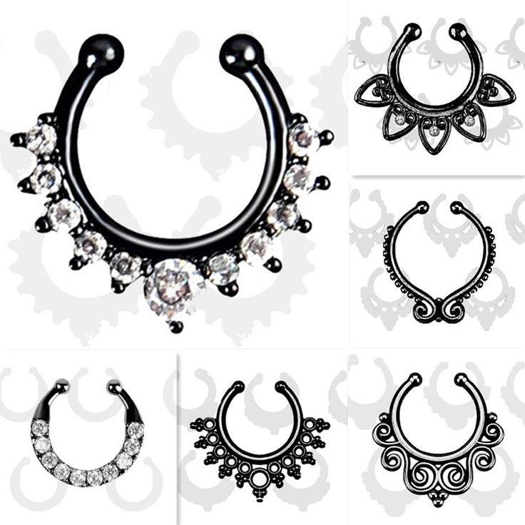De calidad superior Fake Piercing septum nariz anillo de nariz Del Aro Para Las Mujeres de imitación Negro Anillos de clip de clicker no Joyería Del Cuerpo