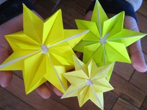 折り紙 キラキラ星の折り方~クリスマス七夕飾り~Origami 8-pointed STAR - YouTube
