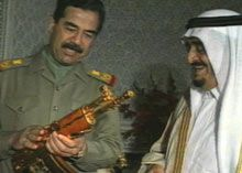 Saddam Hussein and King Fahd, 1982. Just as Fahd takes power, war breaks out between his two powerful neighbors, Iran and Iraq. Fahd befriends Saddam Hussein, a fellow Sunni, and gives him money and weapons to battle the Shi'a in Iran. But two years after the war ends, Saddam will invade neighboring Kuwait, with his eye on Saudi oil.