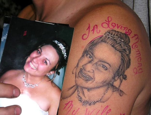 The guy that got this horrible tattoo of his dead wife got it fixed by a much better tattoo artist. See link for before and after.