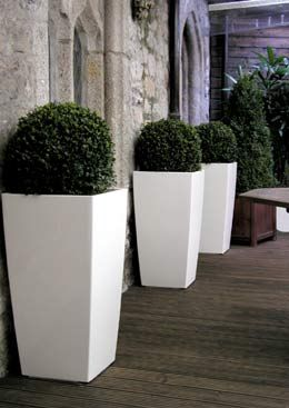 Cubico 50 Self Watering Contemporary Planter In White Uk Online O U T S I D E Pinterest Garden Planters And Plants