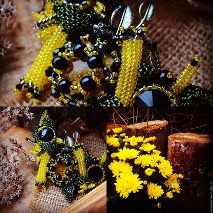 """Купить Колье """"Ноябрь. Хризантемы."""" - желтый, черный, зеленый, осень, хризантемы, колье"""