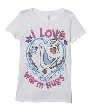 You can't get frozen merchandise anywhere!! But you can find it on zulily today!!! Look at this #zulilyfind! White 'I Love Warm Hugs' Tee - Girls by Frozen #zulilyfinds