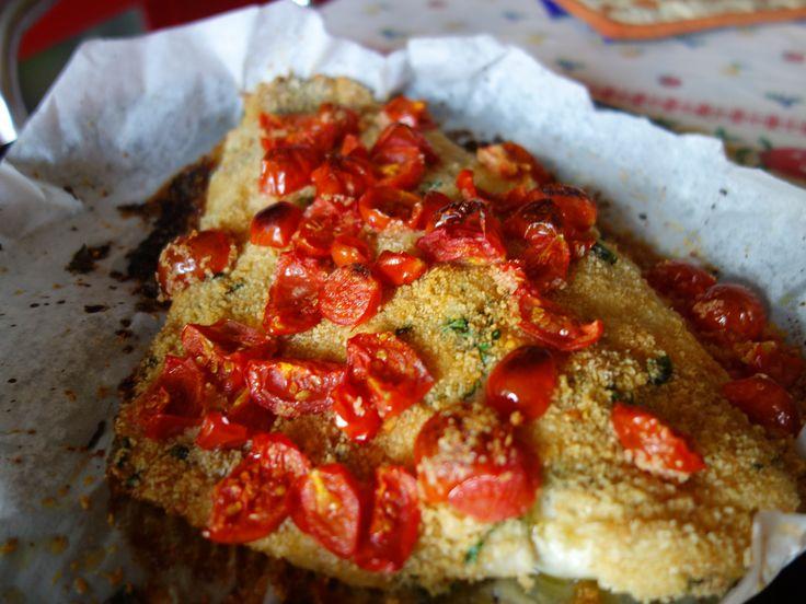 Persico gratinato con pomodorini al microonde