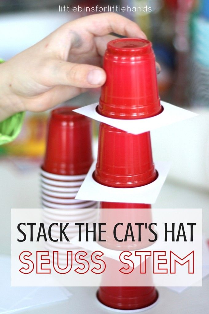 Dr. Seuss STEM challenge for the Cat In The Hat activity. A classic STEM challenge for kids is stacking cups and making cup towers. We gave our STEM activity a Dr Seuss inspired theme! Fun for preschool, kindergarten and grade school STEM.