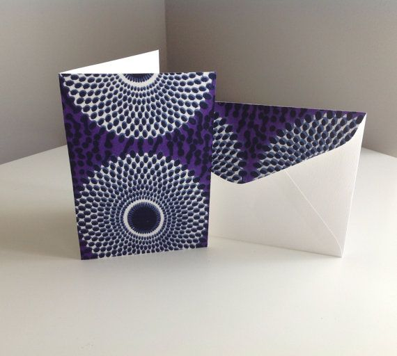 Genuine African wax fabric card & matching envelope (purple, white,black)