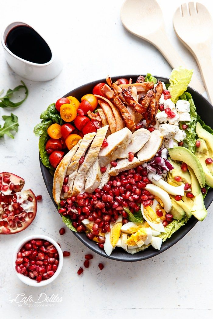 Pomegranate Chicken Bacon Avocado Salad   http://cafedelites.com   minus cheese and traditional dijon to make whole30 compliant