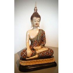 Thais Boeddha beeld ivoor-look zittend 35 cm