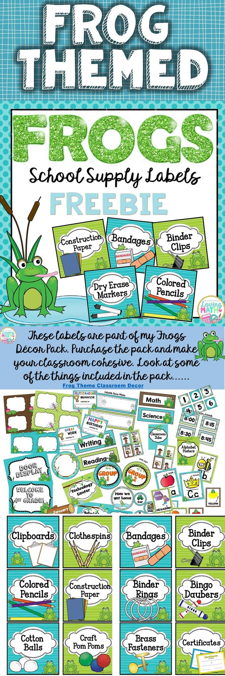 This frog themed classroom supply labels FREEBIE is awesome to label and organize your classroom!