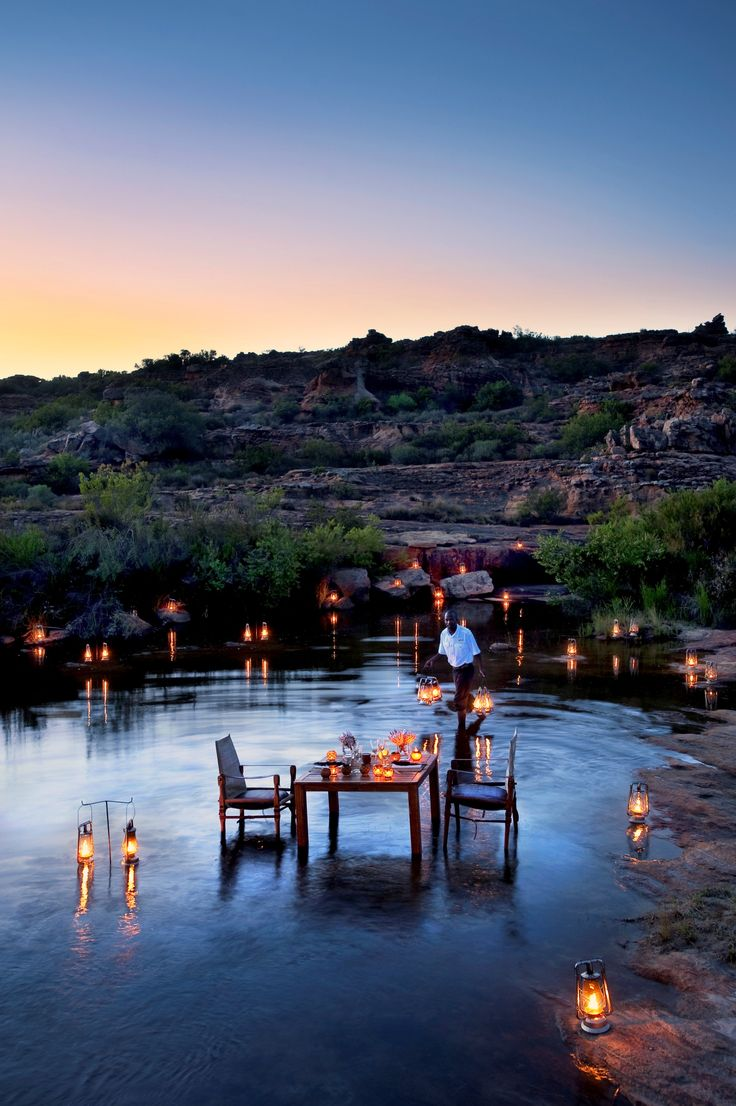 Outdoor dining experience at Bushmans Kloof Wilderness Reserve where all @5staralliance guests receive complimentary private dining in the reserve, a welcome drink upon arrival, a departure gift, 10% off spa treatments, and subject to availability at the time of check-in, a room upgrade.