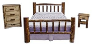 Amish Made Pine Log Bedroom Furniture Set