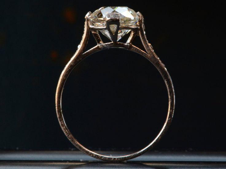 1920s Art Deco 2.50ct Old European Cut Diamond Engagement Ring