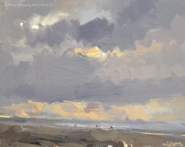 """Seascape Autumn - Evening Peace"" by Roos Schuring, contemporary Dutch impressionist plein air painter, b.1947"