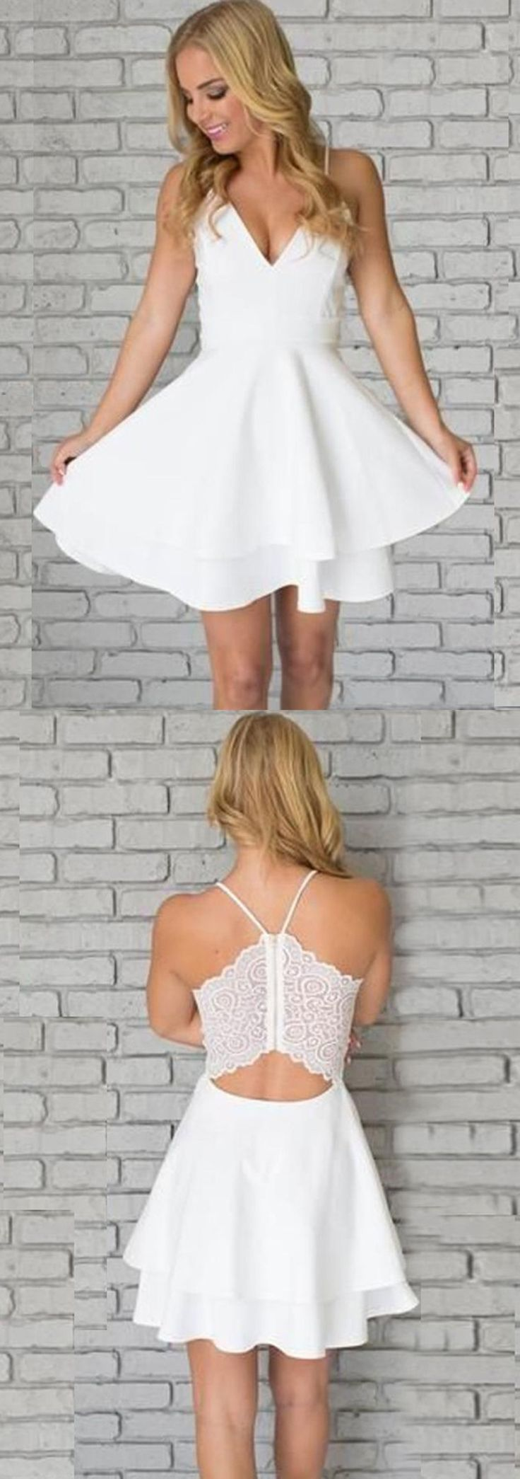A-Line Party Dresses,Spaghetti Straps Dresses,Short Homecoming Dresses,White Lace Homecoming Dresses