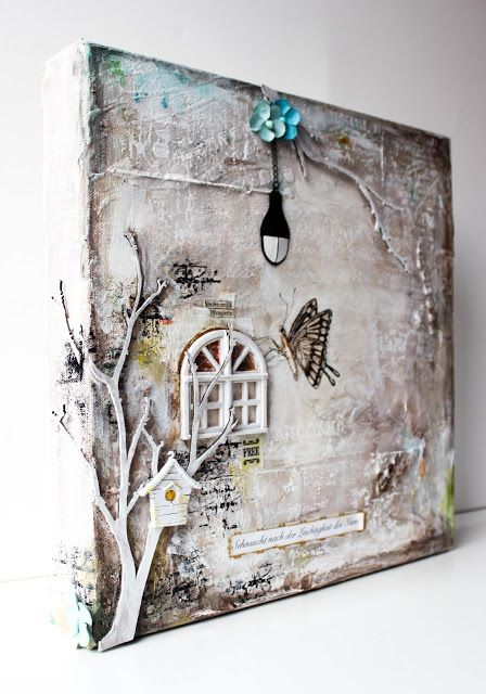 Mixed media canvas from scrapmanufaktur.blogspot.ch                                                                                                                                                                                 More