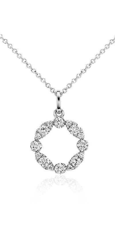 Define your look with the allure of this garland pendant, highlighted with round diamonds set in 14k white gold from #BlueNile