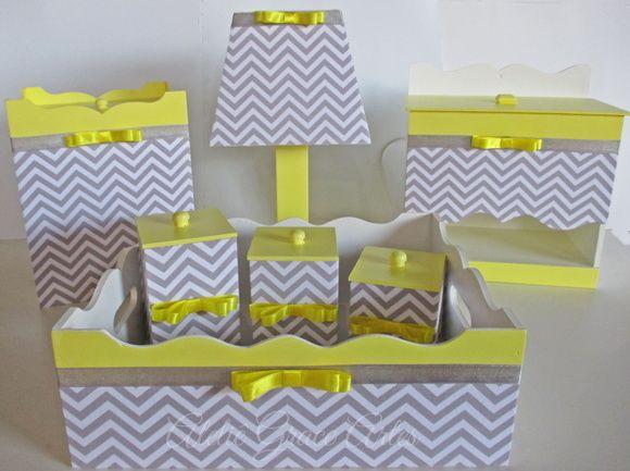 Kit Higiene em mdf Chevron cinza/amarelo